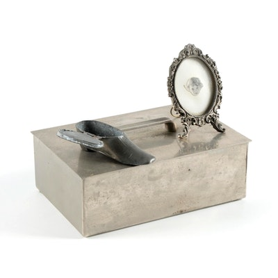 Art Deco Style Metal Box with Shoe Match Safe and Picture Frame
