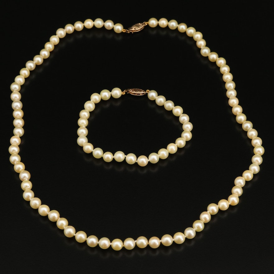 Pearl Necklace and Bracelet Set with 14K Findings