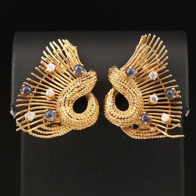 18K Diamond and Sapphire Wirework Earrings