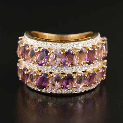 Sterling Multi-Row Ring Featuring Amethyst