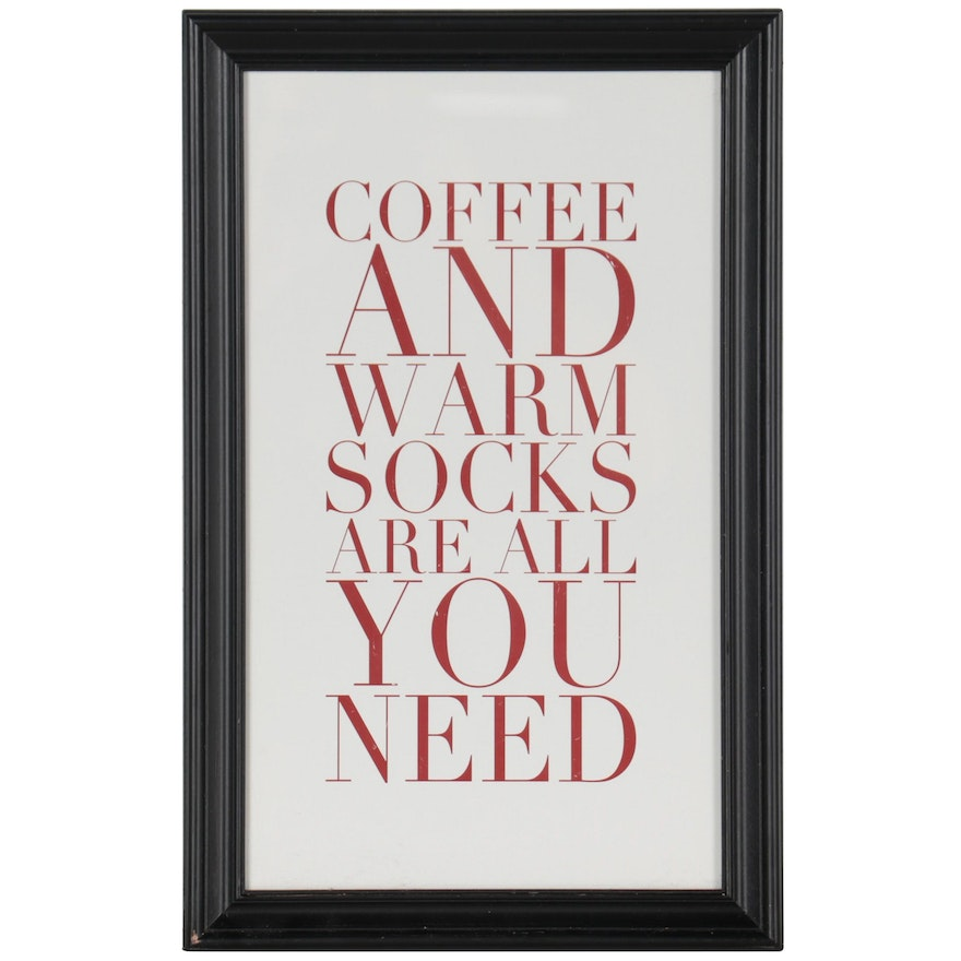 """Pottery Barn """"Coffee and Warm Socks Are All You Need"""" Offset Lithograph"""
