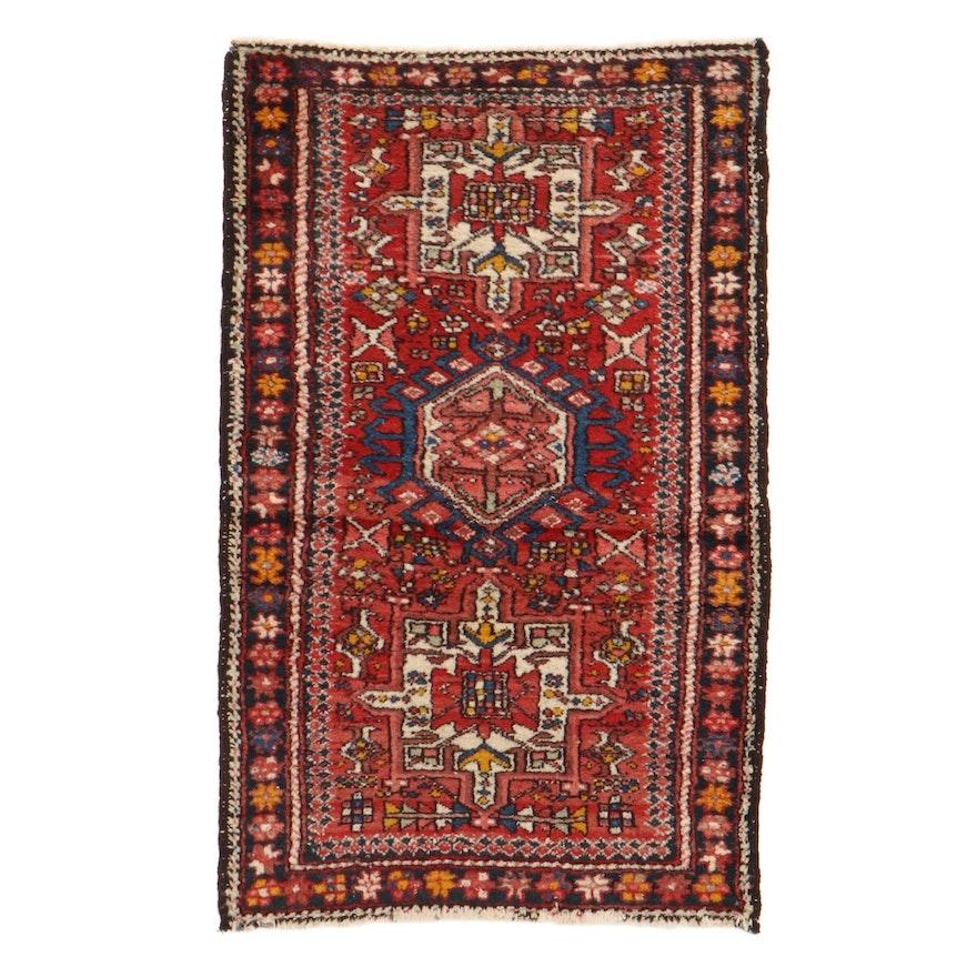 2'8 x 4'3 Hand-Knotted Persian Karaja Rug, 1920s