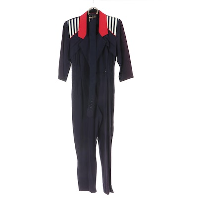 J.S.J. Petites Belted Jumpsuit with Lapel Collar and Striped Fabric Detail