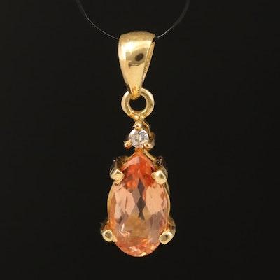 18K Topaz and Diamond Pendant