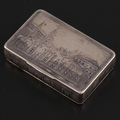 Russian 875 Silver Niello Snuff Box, Mid-19th Century