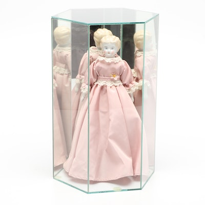 Blonde Hair Low Brown China Doll, Early to Mid 20th Century