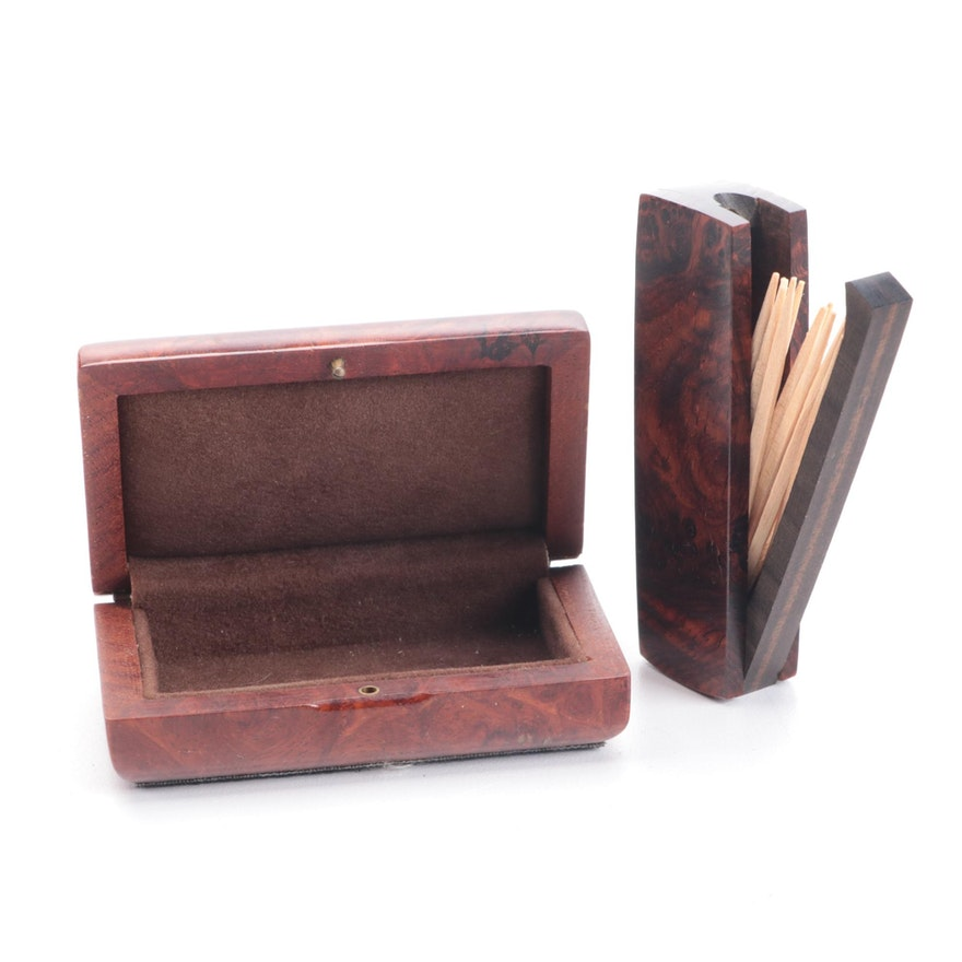Burled Wood Wooden Box and Toothpick Holder, Mid to Late 20th Century