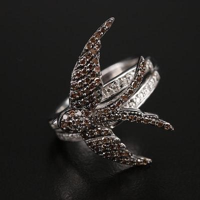 Sterling Pavé Diamond Swallow Ring