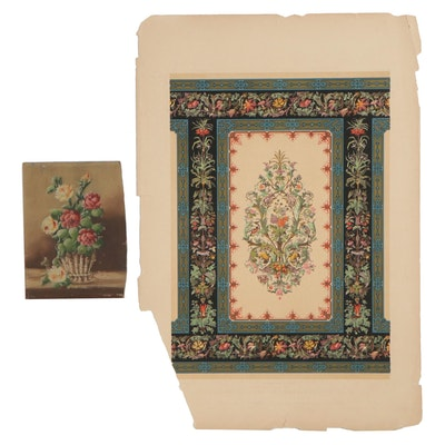 John Sliegh Chromolithograph and Floral Oil Painting