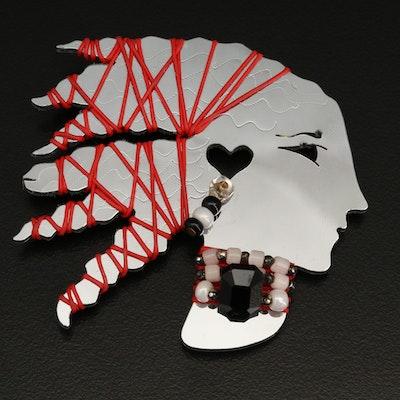 1988 Jill Elizabeth Liztech Mirrored Silhouette Brooch