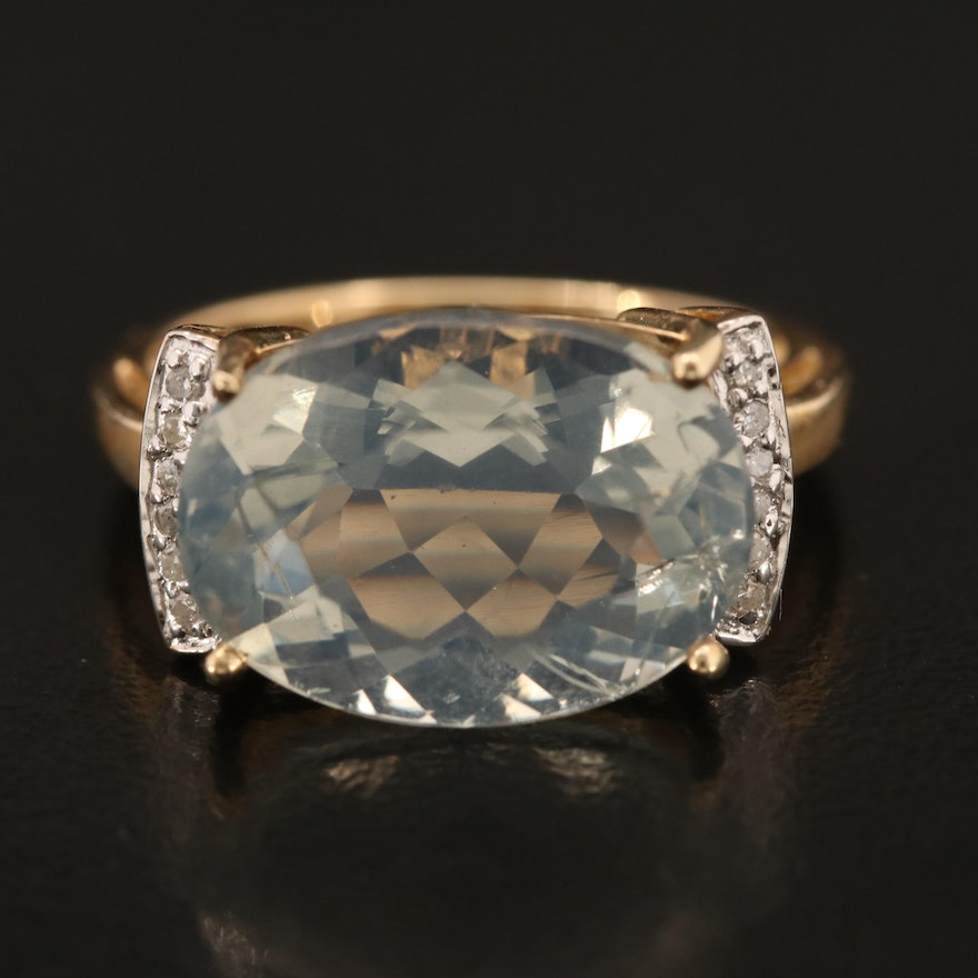 10K Common Opal and Diamond East-West Ring
