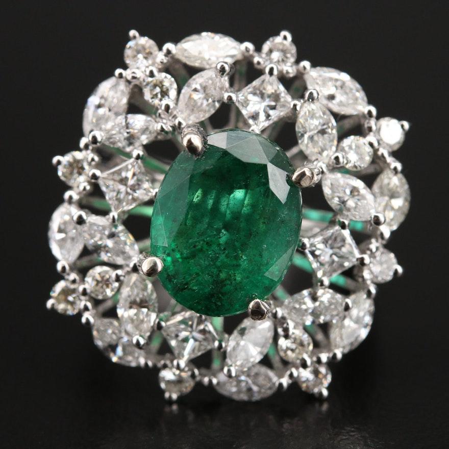 14K 3.85 CT Emerald and 2.65 CTW Diamond Ring