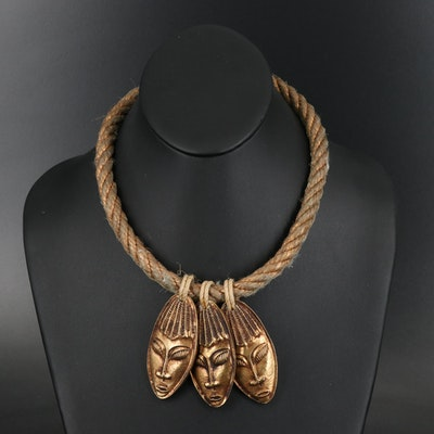 Triple Figural Pendant Necklace with Rope Cord