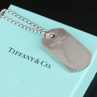 2003 Tiffany & Co. Sterling Dog Tag Pendant Necklace