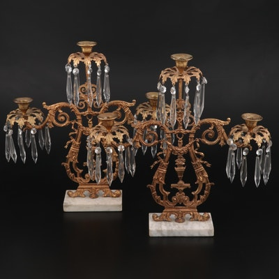 Victorian Gilt Metal Girandole Candelabras, Late 19th Century