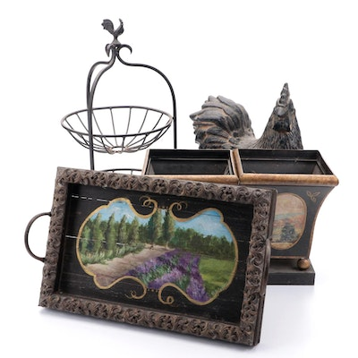 Landscape Motif Tray and Planters with Rooster Table Rack and Statue