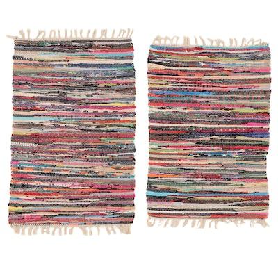 2' x 3' Handwoven American Primitive Style Rag Rugs, 2000s