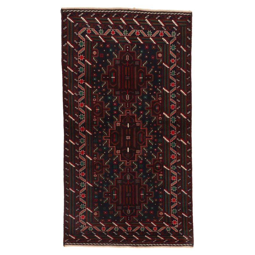 4'1 x 7'7 Hand-Knotted Persian Baluch Rug, 2000s