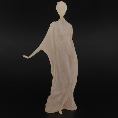 Crystallus Frosted Lucite Figurine of a Woman, Late 20th Century