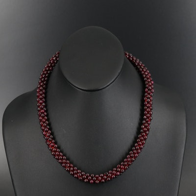Endless Rhodolite Garnet Woven Beaded Necklace