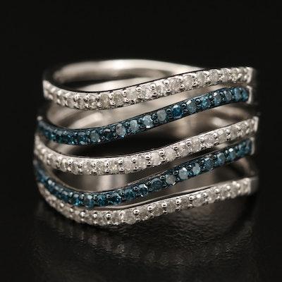 Eva LaRue Sterling Diamond Multi-Row Wave Ring