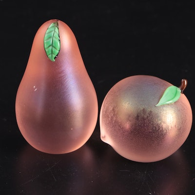 Orient & Flume Art Glass Peach and Pear Paperweights