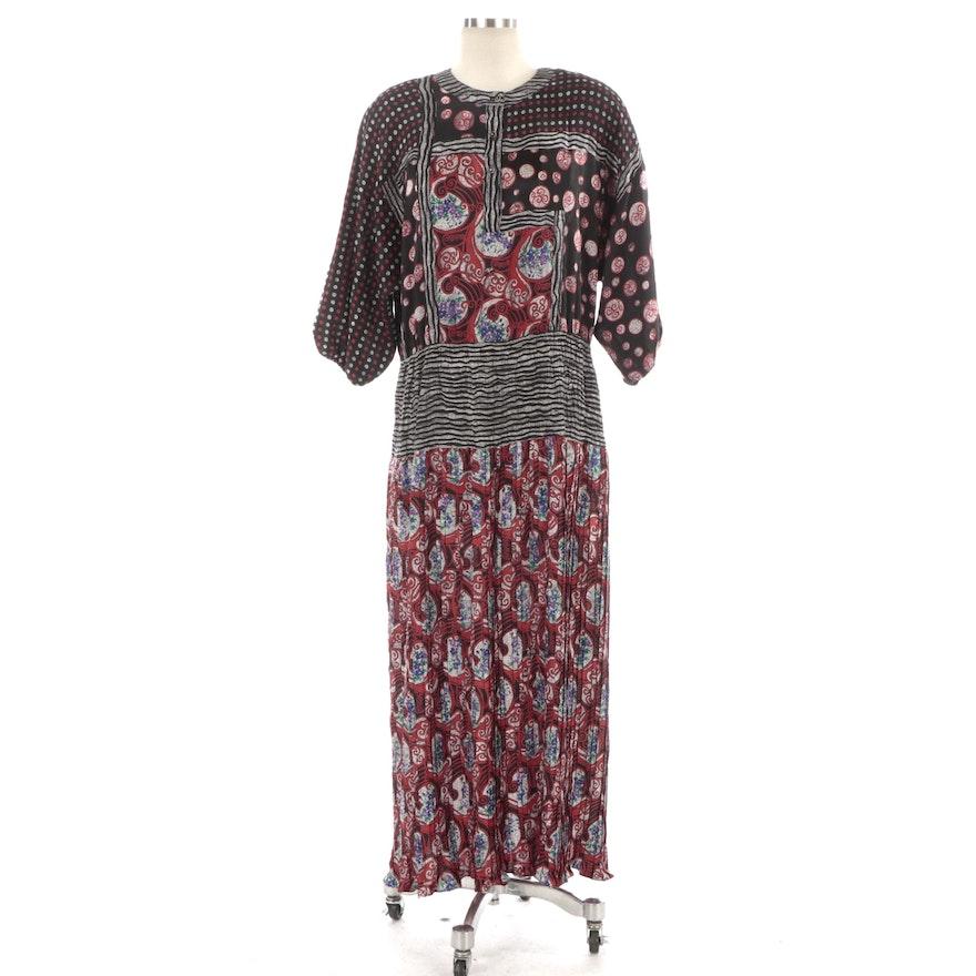 Diane Freis Original Georgette Floral and Polka Dot Patterned Dress