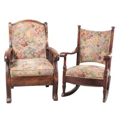 Walnut Rocking Chair and Walnut Armchair, Early 20th Century