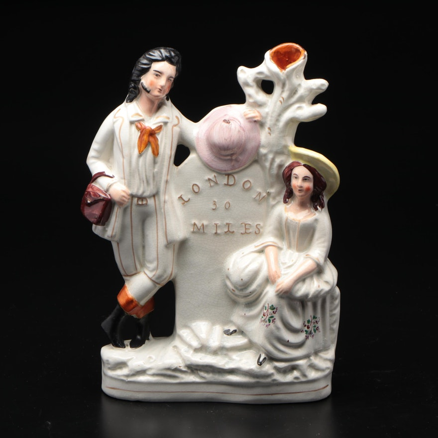 Staffordshire Ceramic  London 30 Miles Spill Vase, Mid to Late 19th Century