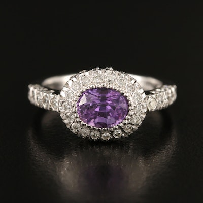 1.78 CT Color Change Sapphire and Diamond Ring in 14K