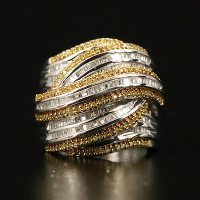 Sterling 1.00 CTW Diamond Wave Crossover Ring