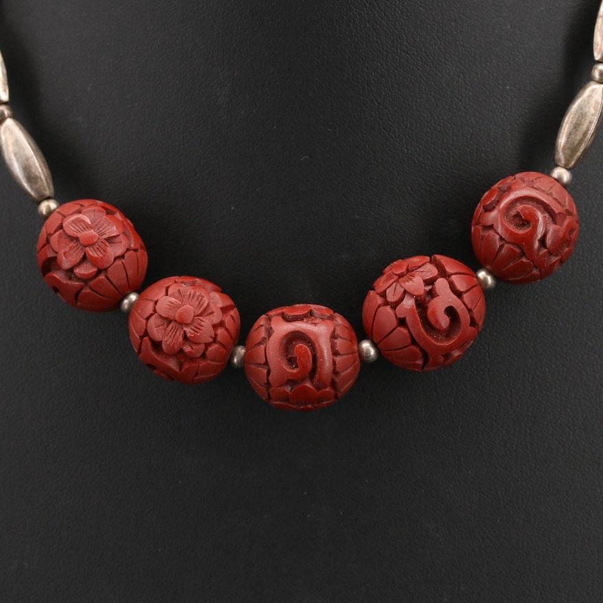 Sterling Imitation Cinnabar Bead Necklace