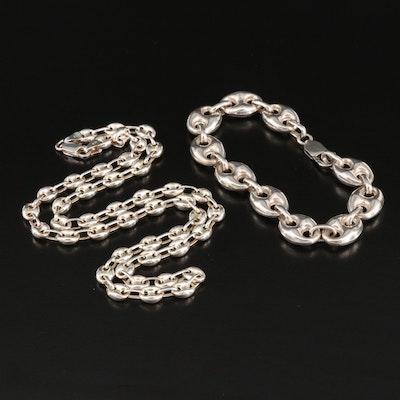 Sterling Mariner Link Necklace and Bracelet