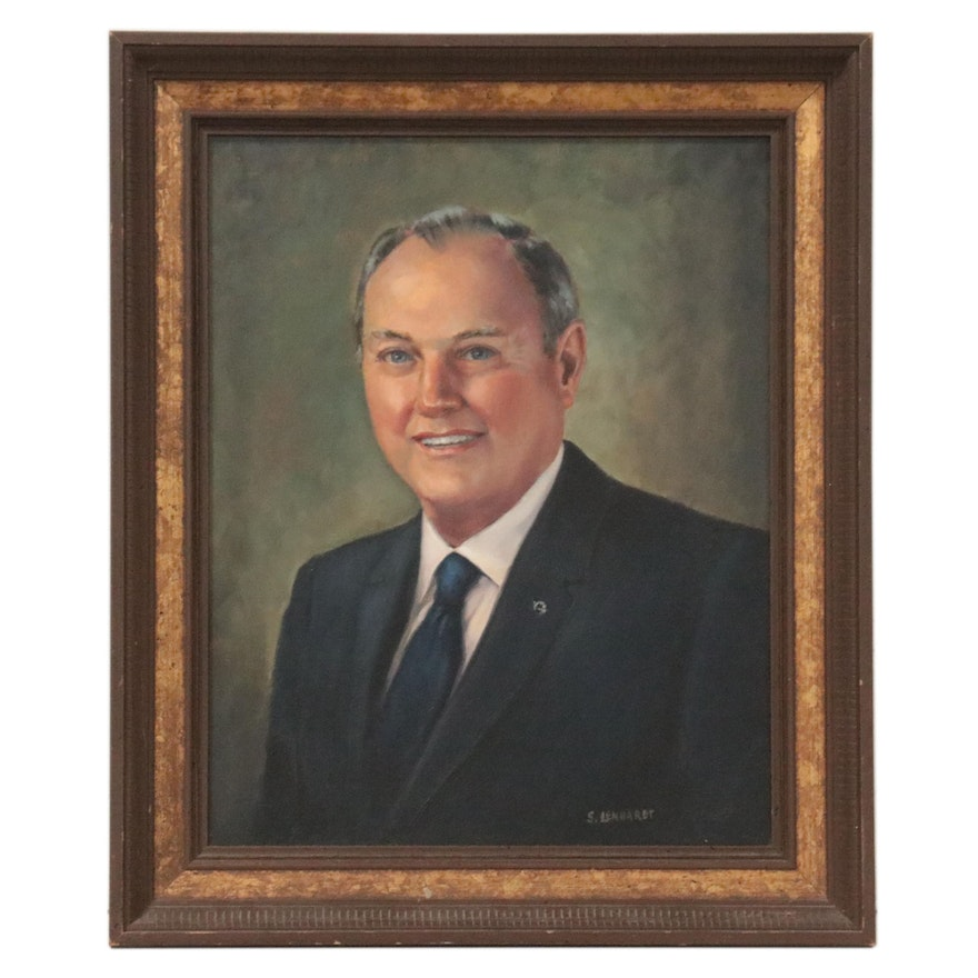 Portrait Oil Painting of a Man in a Suit, Mid-Late 20th Century