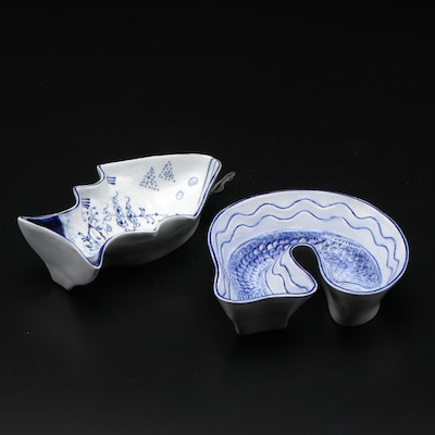 Decorative Blue and White Ceramic Fish Molds, Late 20th Century