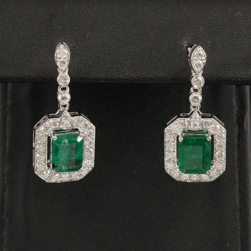 14K 4.32 CTW Emerald and 1.81 CTW Diamond Pendant Earrings