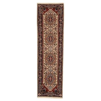 2'4 x 8'10 Hand-Knotted Indo-Persian Heriz Serapi Carpet Runner, 2010s