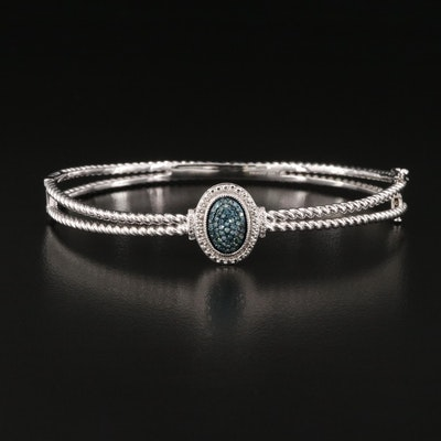 Sterling Blue Diamond Hinged Bangle