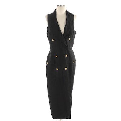 Oleg Cassini Black Silk Double-Breasted Sleeveless Dress