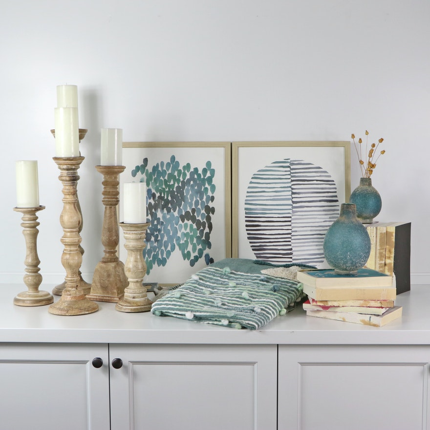 Tahari Throw Blanket, Turned Wooden Candle Holders, and Other Decor