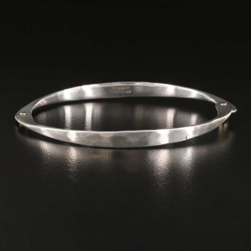 Ed Levin Sterling Oval Hinged Bangle with 14K Accents