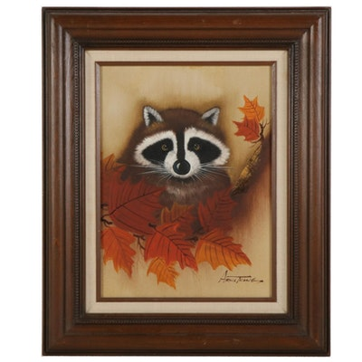 Raccoon and Autumn Leaves Acrylic Painting, Late 20th to 21st Century