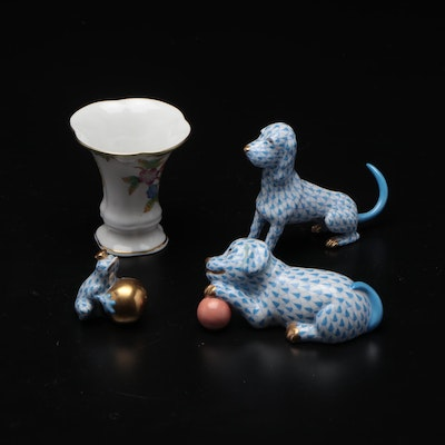 """Herend Blue Fishnet """"Puppy with Ball"""" with Other Dog Figurine and Vase"""