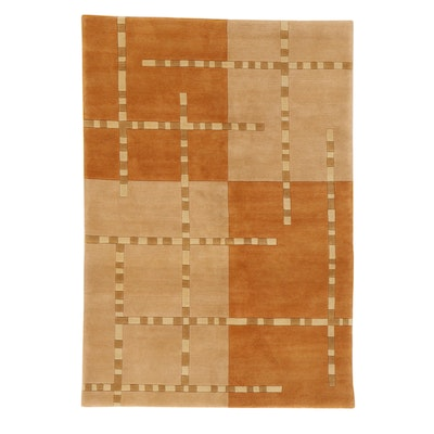 4'7 x 6'7 Hand-Knotted Indo-Persian Gabbeh Rug, 2010s