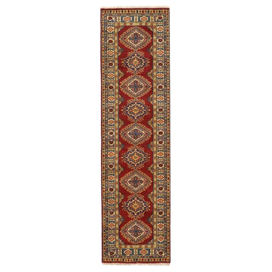 2'7 x 9'8 Hand-Knotted Afghan Kazak Carpet Runner