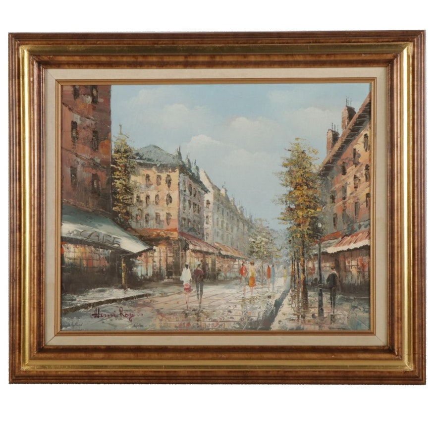 Henri Rogers Impressionist Style Parisian Street Oil Painting, Circa 2000