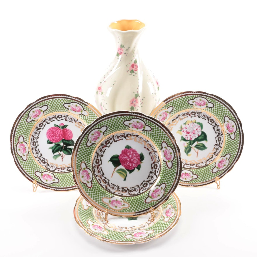 Hand Painted Vase with Two's Company Wall Hanging Plates and Stands