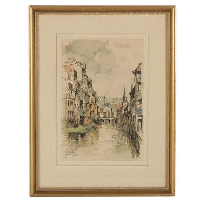 "City Canal Offset Lithograph After Jan Korthals ""La Vesdre Verviers"""