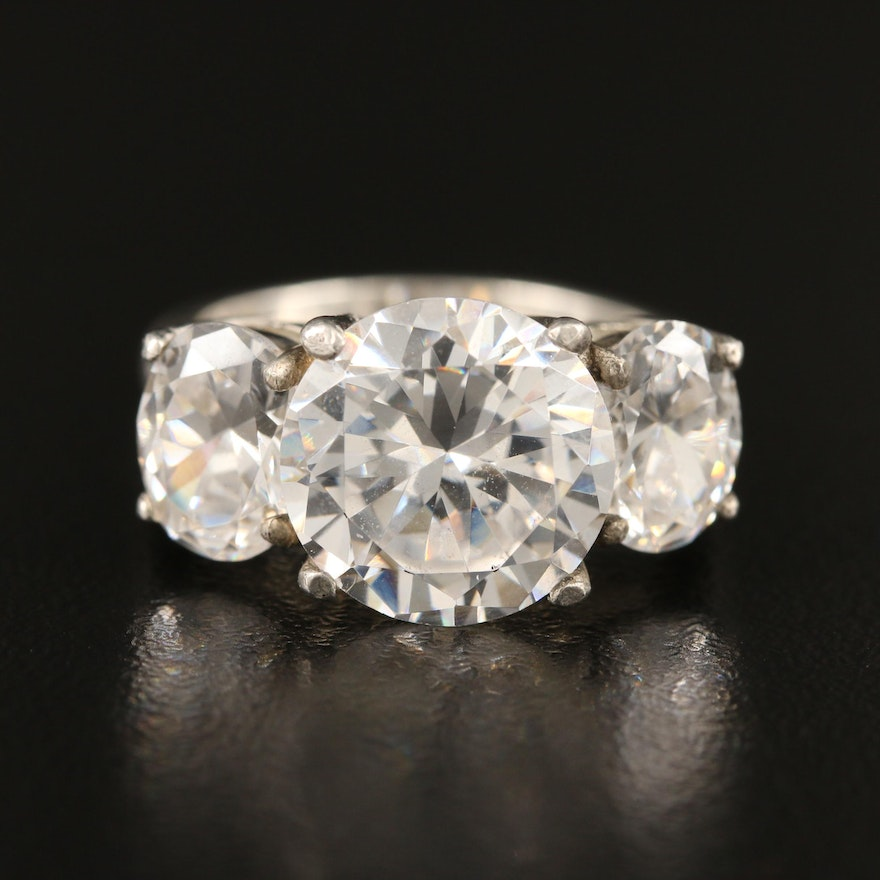 Sterling Silver Cubic Zirconia Three Stone Ring