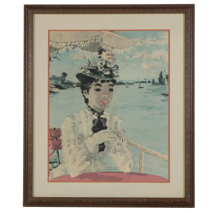 Impressionist Style Portrait Offset Lithograph